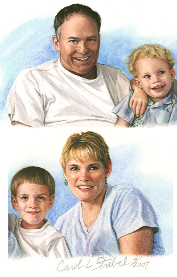 StrebelArt - Gouache Mini In-A-Line Portrait of Emark Family - Detail -- In-A-Line